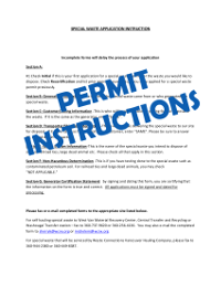 Special Waste Permit Instructions