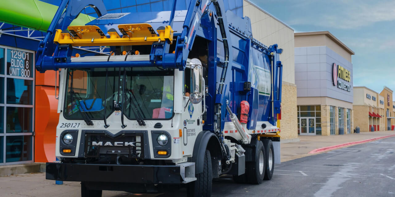 Waste Connections Commercial Dumspter Truck Big Strip Mall