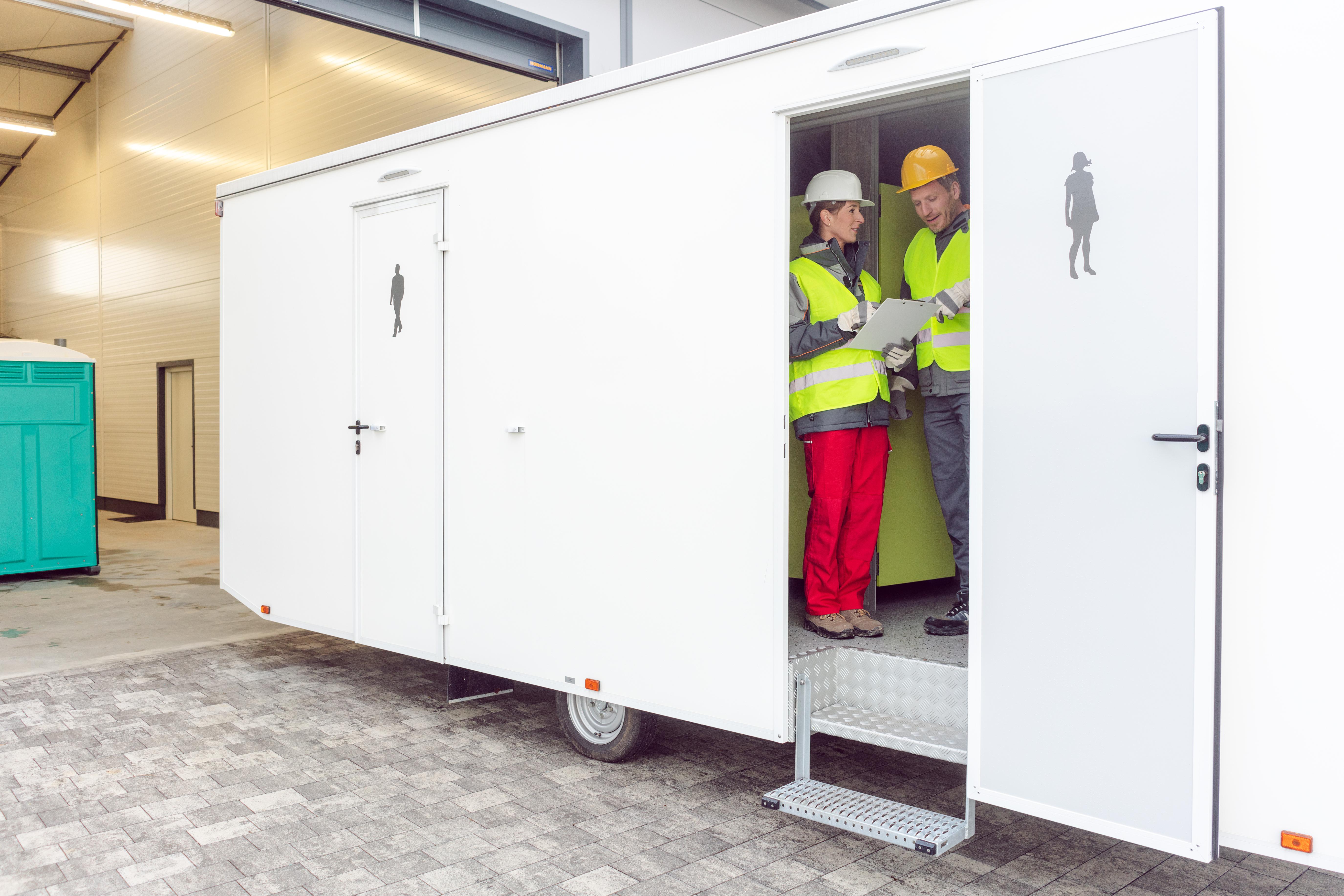 Portable restroom trailer for events